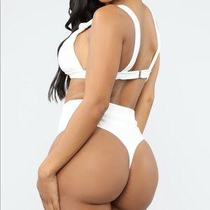 High rise white thong bikini set